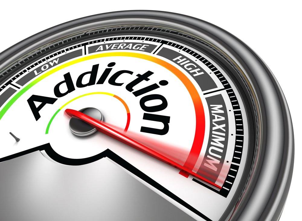 Addiction - Graphic of a speedometer with Addiction in the middle. The red gauge has gone past Low, Average, High and is pegged over at Maximum.